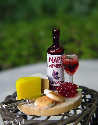 Miniature Dollhouse FAIRY GARDEN Accessories ~ Tiny Wine & Cheese Board ~ NEW