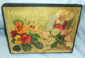 ANTIQUE MANDEVILLE & KING Co. CARDBOARD SEED BOX W/COLORFUL LABELS INSIDE & OUT