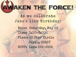 Image Is Loading Star Wars Rey Digital Format Birthday Invitations