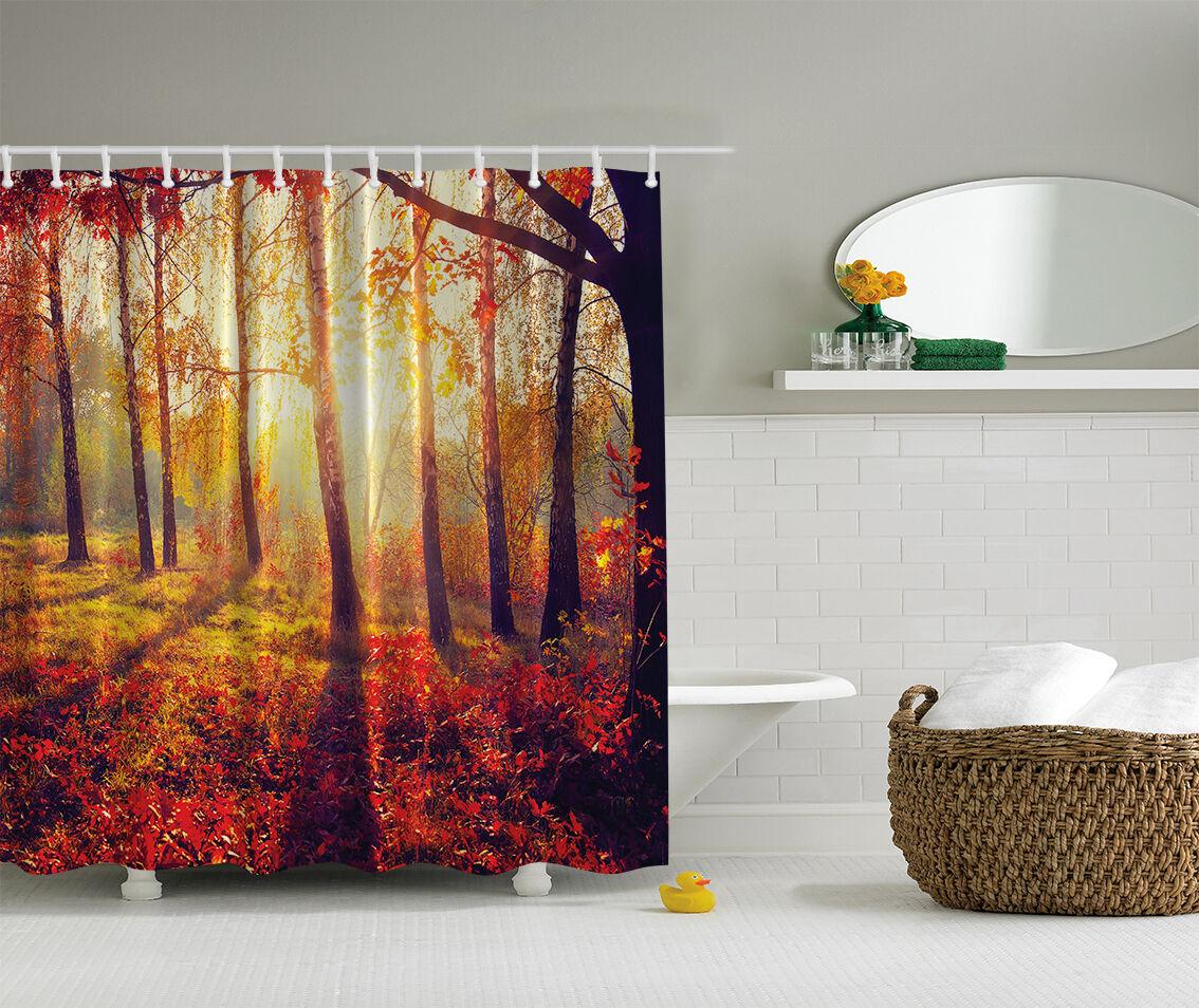 Photo Nature Autumn Sun Tree Forest Fabric Shower Curtain Digital Art Bathroom 52d0e0