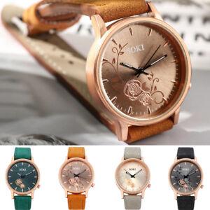 Frau-Lady-Lederband-Watch-Casual-Floral-Analog-Quarz-Runde-Armbanduhr