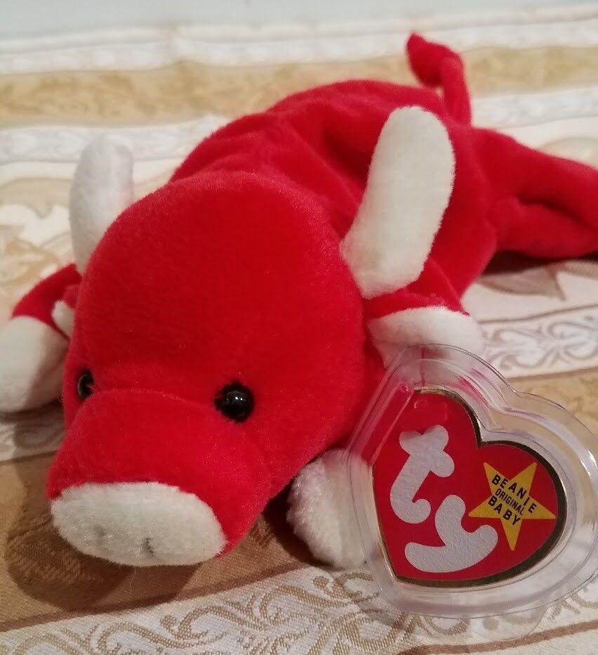 selten  ty beanie baby -  schnupfen  rot - bull - mwmt w   fehler und tag beschützer