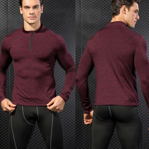 Men/'s Athletic Thermal Shirt Mock Neck 1//4 Zip Under Base Layer Running Gym Top