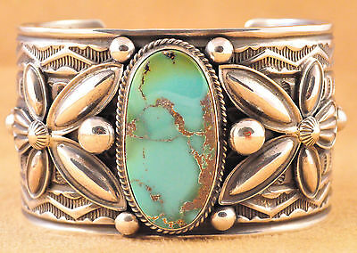 Navajo Sterling Hand Stamped Natural Aztec Turquoise Cuff Bracelet  Andy Cadman