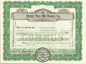 Chester-Pure-Silk-Hosiery-Co-gt-1939-old-stock-certificate-share