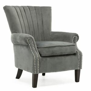 Olenka-Velvet-Wing-Back-Occasional-Accent-Lounge-Chair-Armchair-Grey-Fabric-Tub