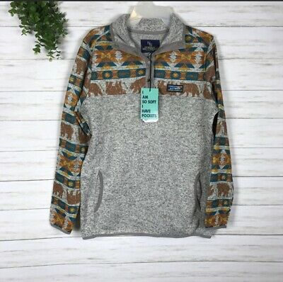 Simply Southern Women/'s Knit Pullover in Grey Bear Print Size L XXL NWT XL