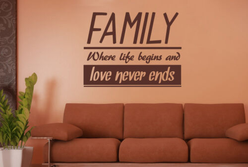 Family Where Life Begins And Love Never Ends Wall Stickers Vinyl Art Decals