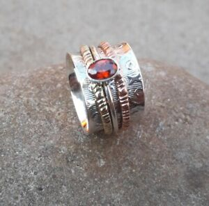 Garnet-Stone-Solid-925-Sterling-Silver-Spinner-Ring-Statement-Ring-Size-M443