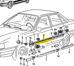 Audi c3 100 200 5000 Exterior door handle Rear RIGHT