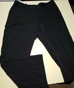 Atencion Negro A Rayas Pantalones De Vestir Para Mujer Talla 18 Stretch Ebay