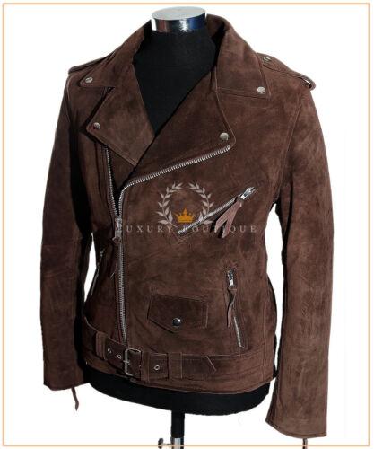 Men/'s Brando Brown Suede Motorcycle Biker Cruiser Style Cowhide Leather Jacket