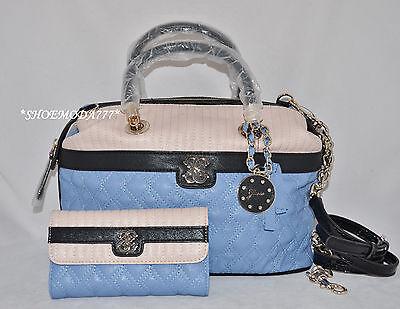GUESS Merci Quilted Large Satchel Bag Purse Handbag Sac Wallet Set 4G Charm New