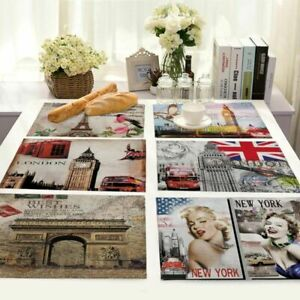 Eiffel Tower Insulation Cotton Linen Placemat Dining Table Mat Home Kitchen