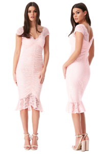 Goddess-Blush-Ruched-Lace-Frill-Hem-Fitted-Cocktail-Party-Evening-Dress-RRP-55