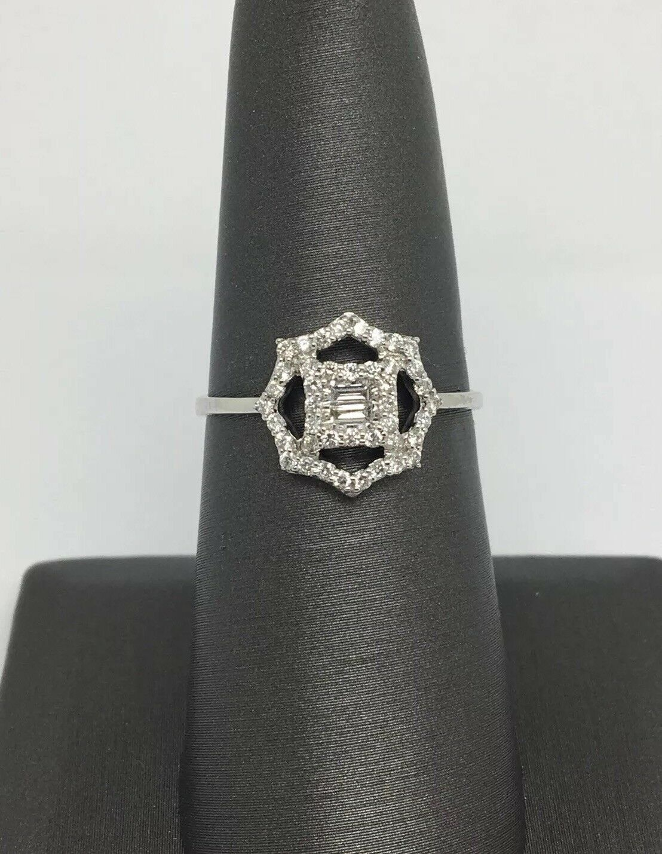 14K White gold Natural Diamond Octagon Shape Ring
