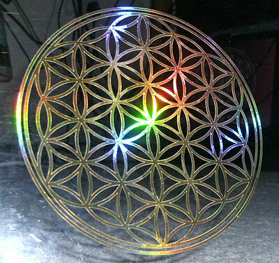 Holographic Rainbow Gold Flower Geometry of life Sticker