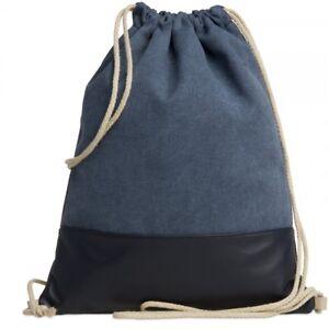 Details About Caspar Tl714 Women Men Kids Drawstring Gym Bag Cotton Canvas Leather Backpack
