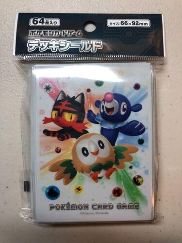 64 sleeves per pack Pokemon Center Japan Litten//Rowlet//Popplio Card Sleeves