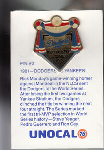 VINTAGE-L-A-DODGERS-UNOCAL-PIN-UNUSED-1981-DODGERS-VS-YANKEES