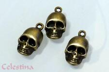 10 Antique Bronze Skull Charms Pirate Beads Gothic Halloween Skeleton LF NF 18mm