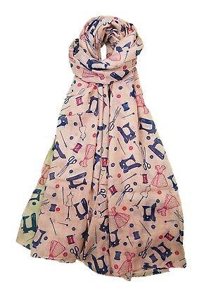 Dressmaker Sewing Machine Scissors Needles Cotton Reels Dresses Print Scarfs