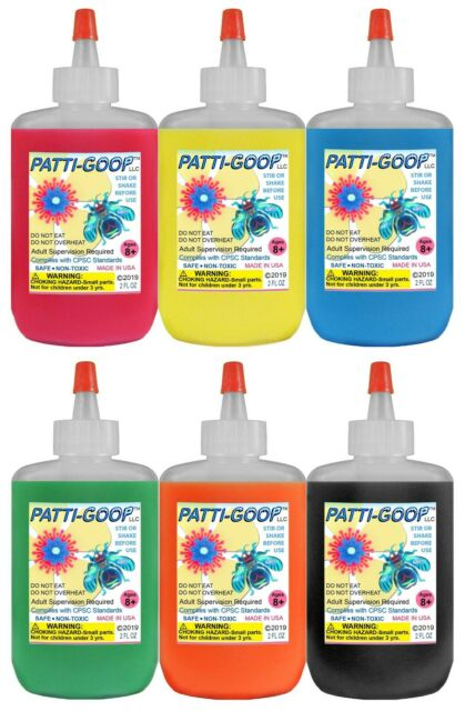 FLUORESCENT 6-PACK PATTI-GOOP MADE FOR CREEPY BUGS TOYS RUBBERY CRAWLERS