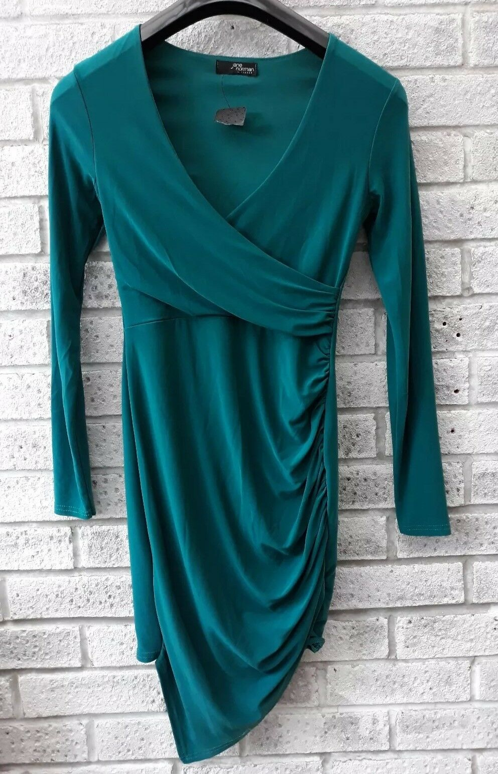 JANE NORMAN WRAP DRESS GREEN NEW -RRP  ON TREND PARTY OCCASION SIZE 8.