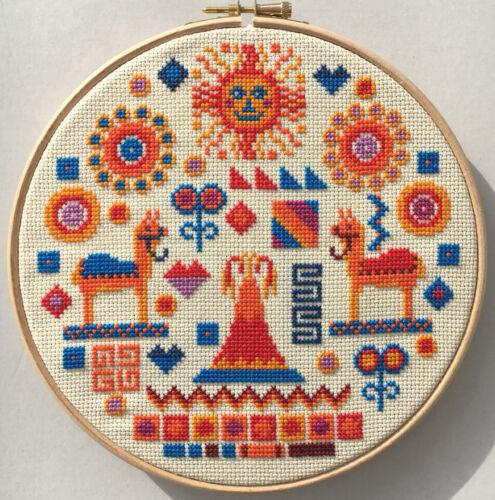 Puntada cruzada contada Kit Con Aro Inca por riverdrift House