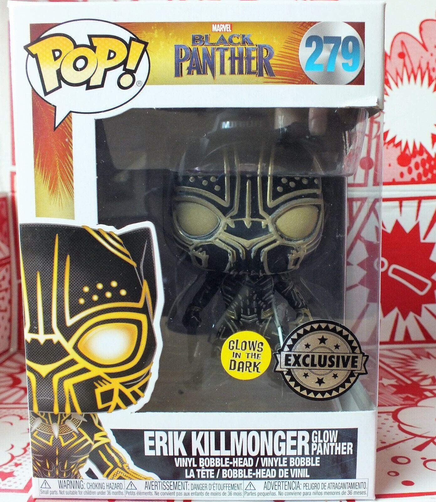 Erik Killmonger Glow Panther Exclusive Glow In The Dark Funko pop vinyl New