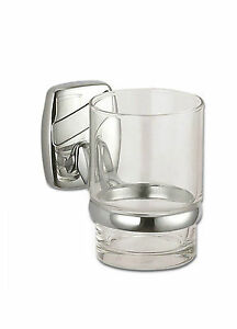 Wall Mounted Polished Chrome Toothbrush Holder Clear Glass