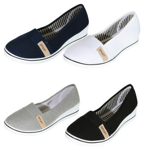 Details zu Damen Sneakers Ballerinas Slipper Stoffschuhe Flats Keilabsatz Schuhe Schwarz104