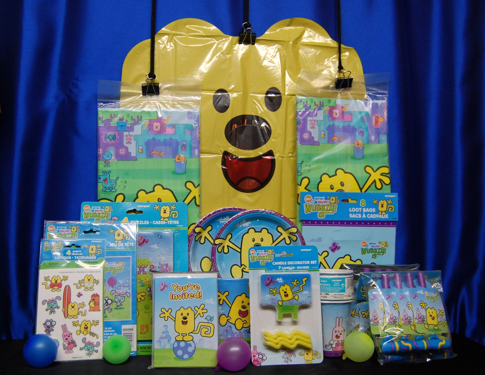 Wow Wow Wubbzy Party Set   20 Cups Plates Napkins Tablecover Invites Game Candle