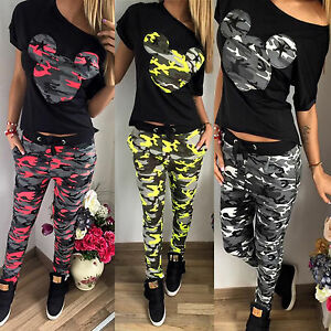 Camouflage-Mickey-Mouse-Hausanzug-Damen-Sommer-Gym-Trainings-Jogging-Sport-Anzug