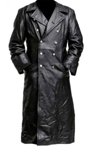 Trenchcoat Officier Uniform Militaire Zwart Klassieke Heren Leer nqEX5nzg