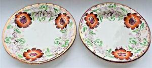 Antique-Lustre-Plate-Set-of-2-Red-Flowers-Pink-Rim-Edge-9-5cm-diameter-c-1850