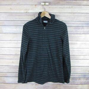 COLUMBIA-Women-039-s-Long-Sleeve-1-2-Zip-Fleece-Pull-Over-Sweater-S-Small-Blue-Gray