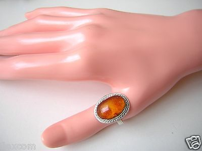 Geprüfter Silber Ring Mit Honig Natur Bernstein 5,3 G / Rg 57 Amber HöChste Bequemlichkeit