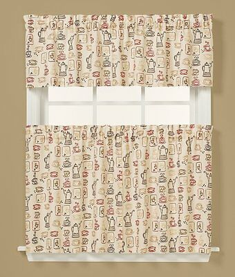 Saturday Knight Breaktime Coffee Tier Set or Valance Kitchen Curtains