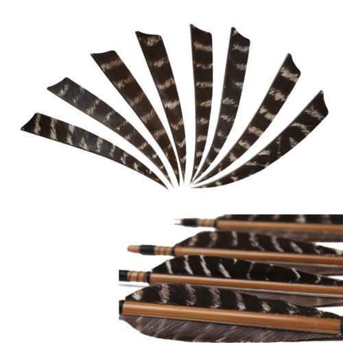 "24pcs Shield Cut Archery Right Wing 5/"" Turkey Wooden Arrow Feather Fletching DIY"