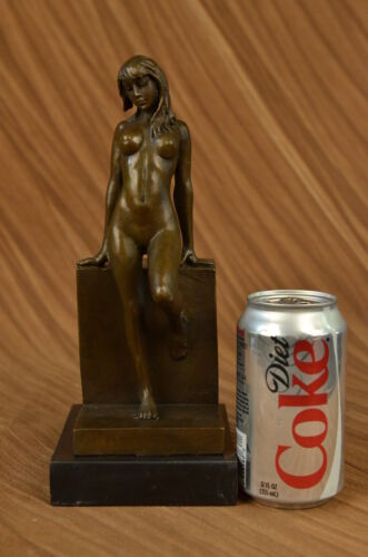 """10/"""" Bronze art sculpture a nude erogenous woman girl lady statue marble base"""