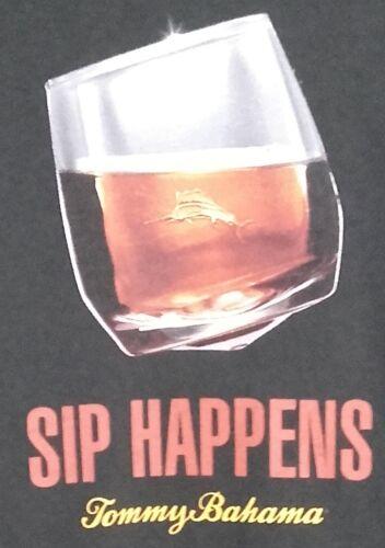 TOMMY BAHAMA Men/'s T-shirt SIP HAPPENS Cocktails Whiskey Liquor Cognac Cigar