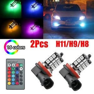 2pcs-H11-H9-H8-27SMD-5050-16Color-RGB-LED-Fog-Lights-Driving-Bulbs-Lamp-Remote