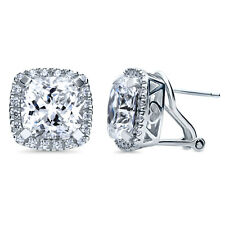 BERRICLE Sterling Silver Cushion Cut CZ Halo Statement Stud Earrings