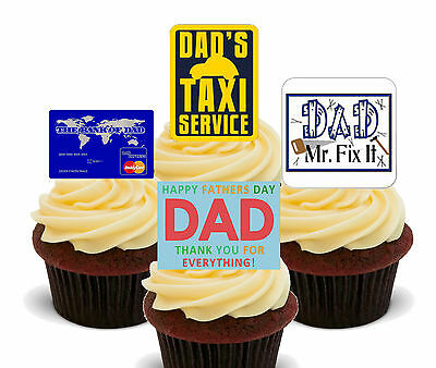 Fathers Day Beer Themed Fun Fully Edible Cup Cake Toppers Stand Up Decorations