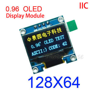 "White 0.96/"" I2C IIC 128X64 OLED LCD LED Display Module Board SSD1306 For Arduino"
