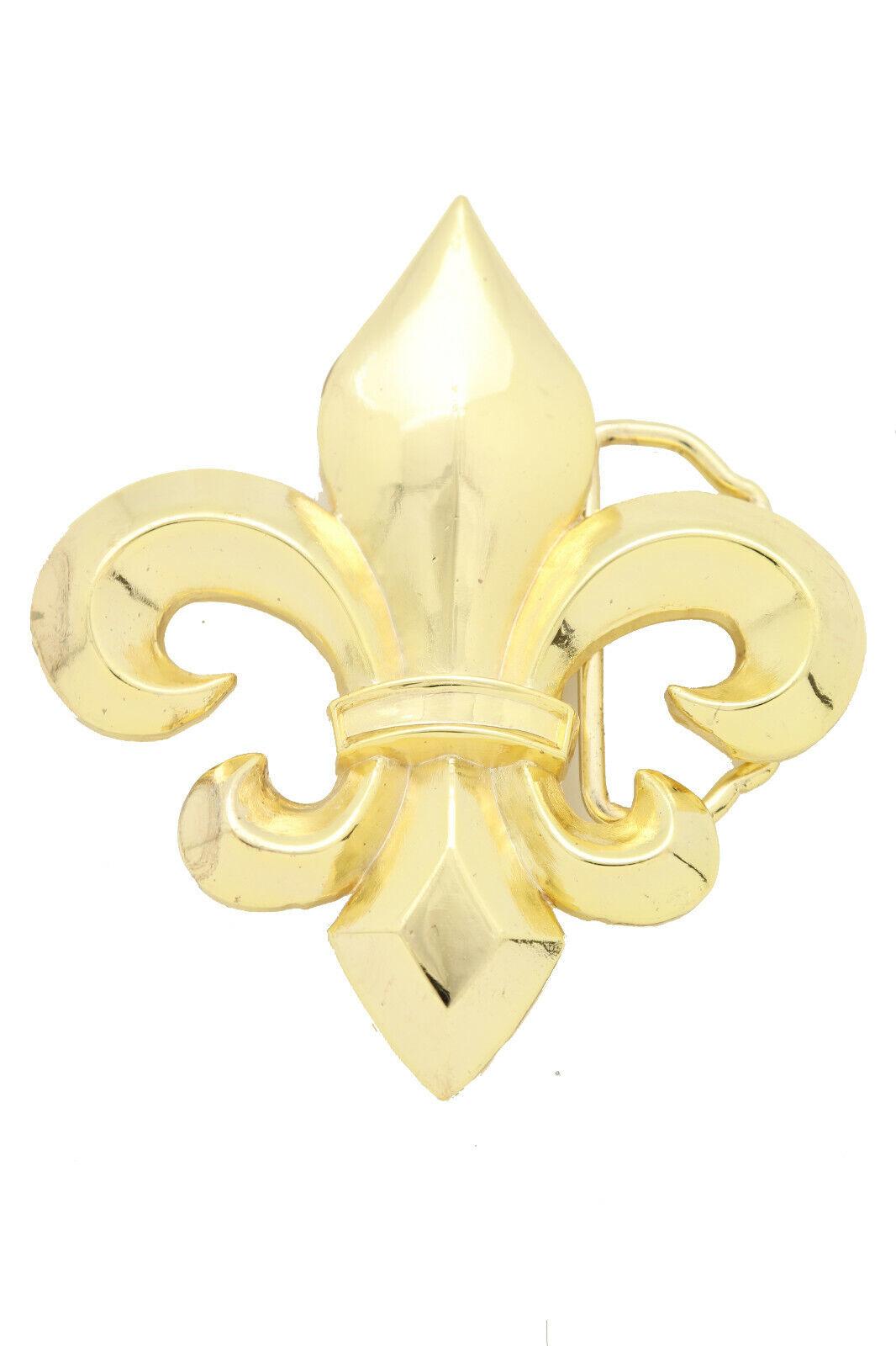 Herren Damen Gürtelschnalle Gold Metall Bekleidung Mode Lilie Blume Französisch