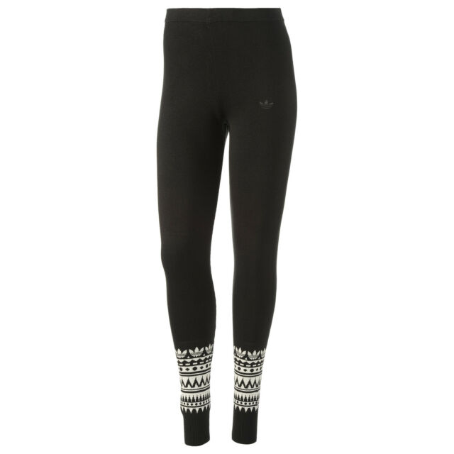 nwt~Adidas PATTERNED LEGGINGS Tight Yoga Running KNITTED Pant workout~Women sz M