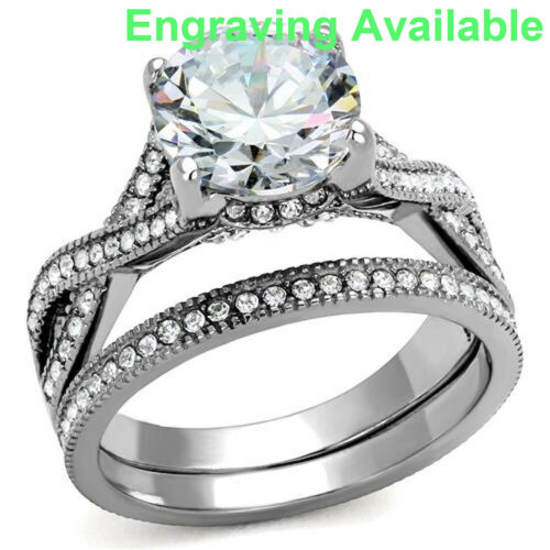 Women/'s Wedding Band Ring Set Stainless Steel Round Cut AAA CZ Size 5-10