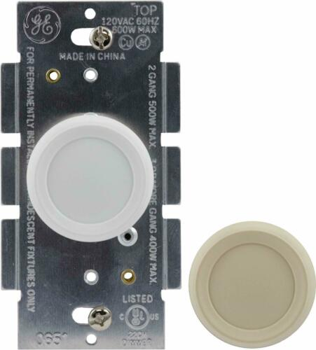 GE 18021 Dimmer Rotate On//Off 1 White and 1 Light Almond Knob Replacement Home